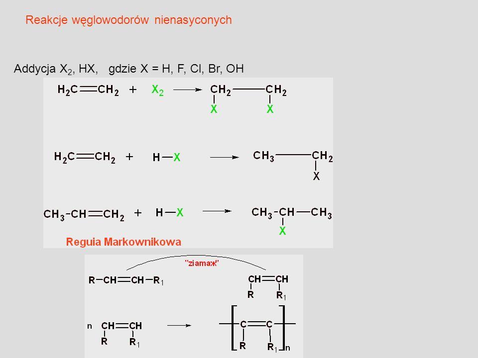 Addycja X 2, HX, gdzie X = H, F, Cl, Br, OH Reakcje węglowodorów nienasyconych
