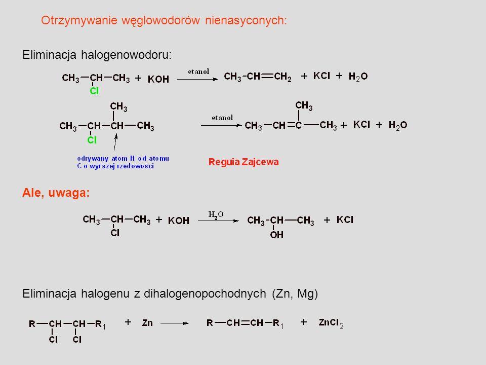 Eliminacja halogenu z dihalogenopochodnych (Zn, Mg) Eliminacja halogenowodoru: Ale, uwaga: Otrzymywanie węglowodorów nienasyconych: