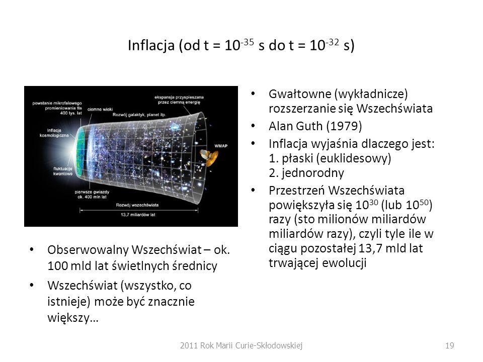 Inflacja (od t = 10 -35 s do t = 10 -32 s) Obserwowalny Wszechświat – ok. 100 mld lat świetlnych średnicy Wszechświat (wszystko, co istnieje) może być