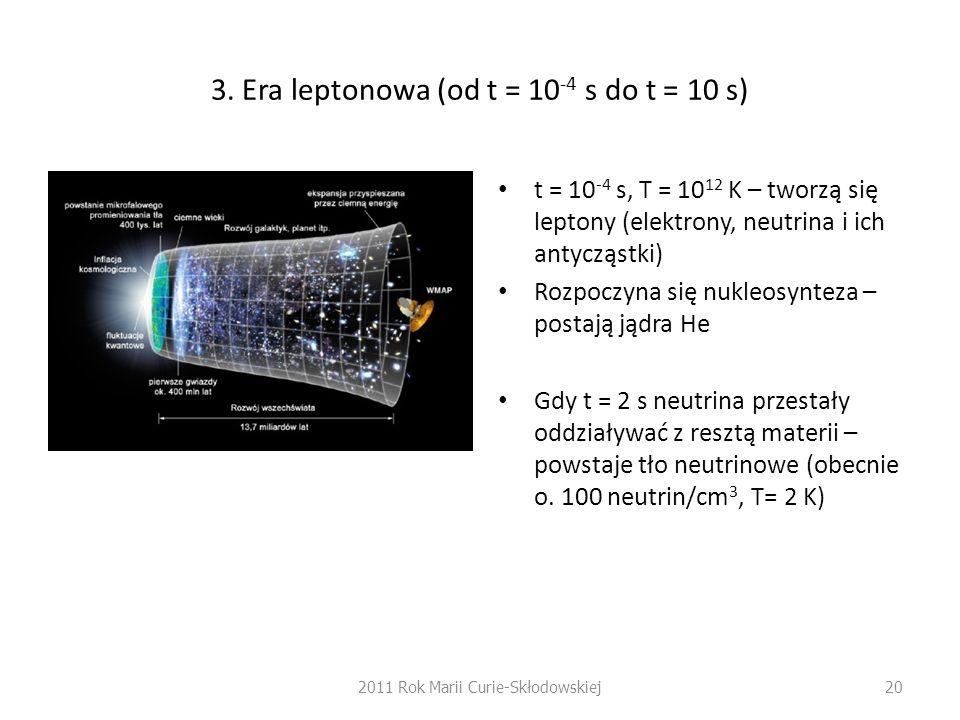 3. Era leptonowa (od t = 10 -4 s do t = 10 s) t = 10 -4 s, T = 10 12 K – tworzą się leptony (elektrony, neutrina i ich antycząstki) Rozpoczyna się nuk