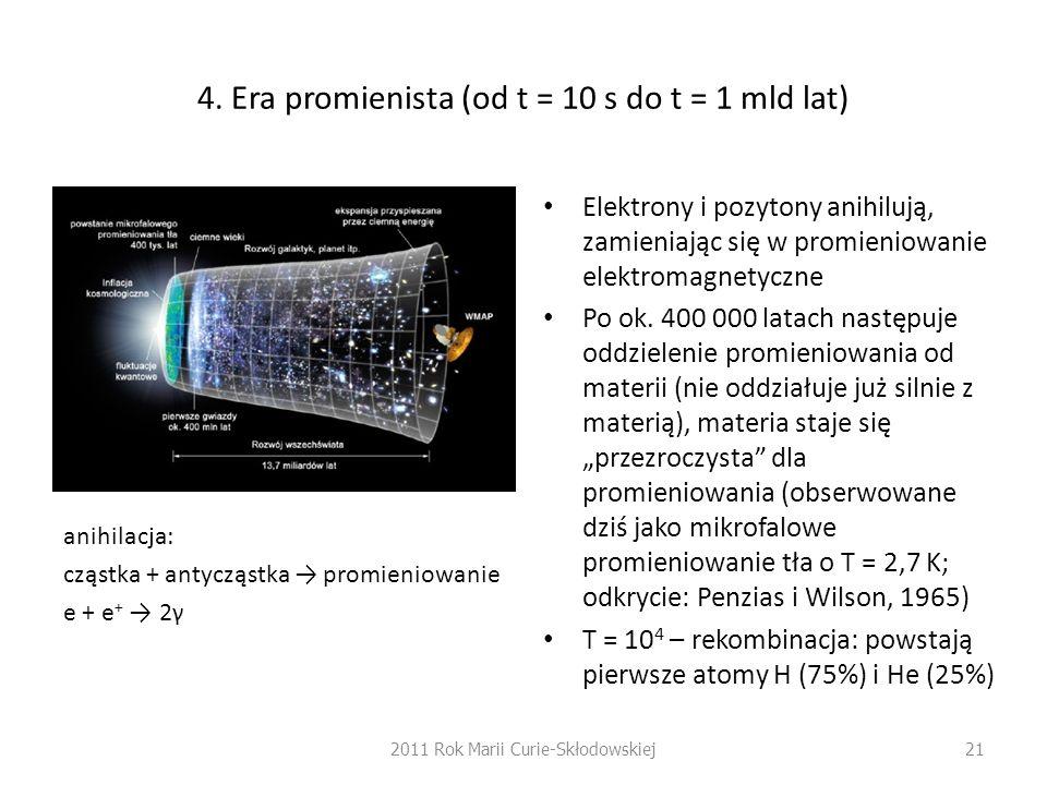 4. Era promienista (od t = 10 s do t = 1 mld lat) anihilacja: cząstka + antycząstka promieniowanie e + e + 2γ Elektrony i pozytony anihilują, zamienia