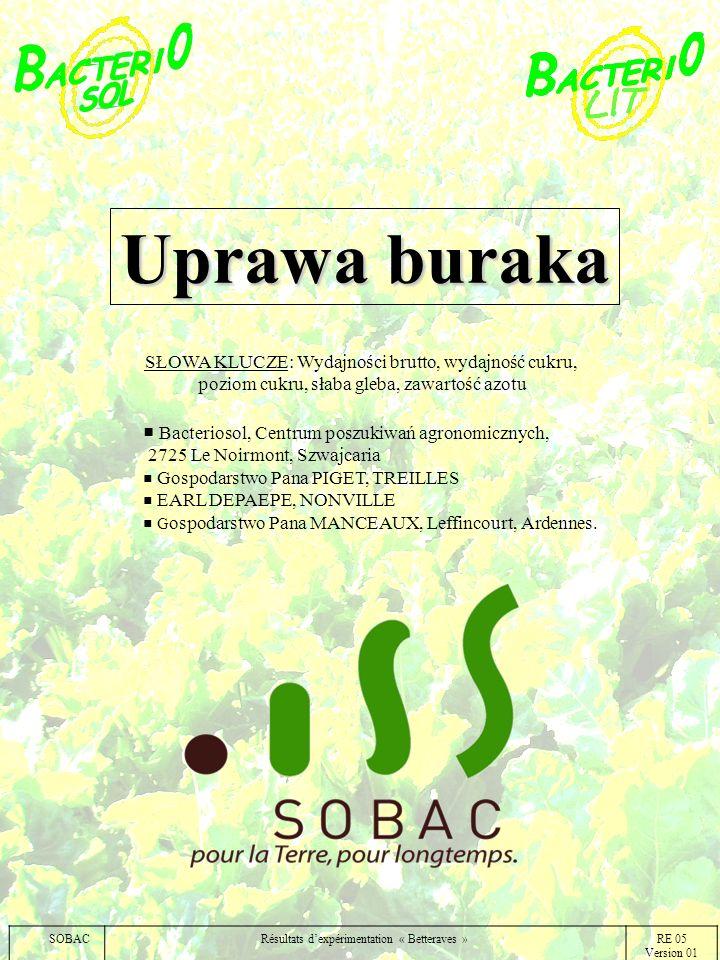 Uprawa buraka Bacteriosol, Centrum poszukiwań agronomicznych, 2725 Le Noirmont, Szwajcaria Gospodarstwo Pana PIGET, TREILLES EARL DEPAEPE, NONVILLE G