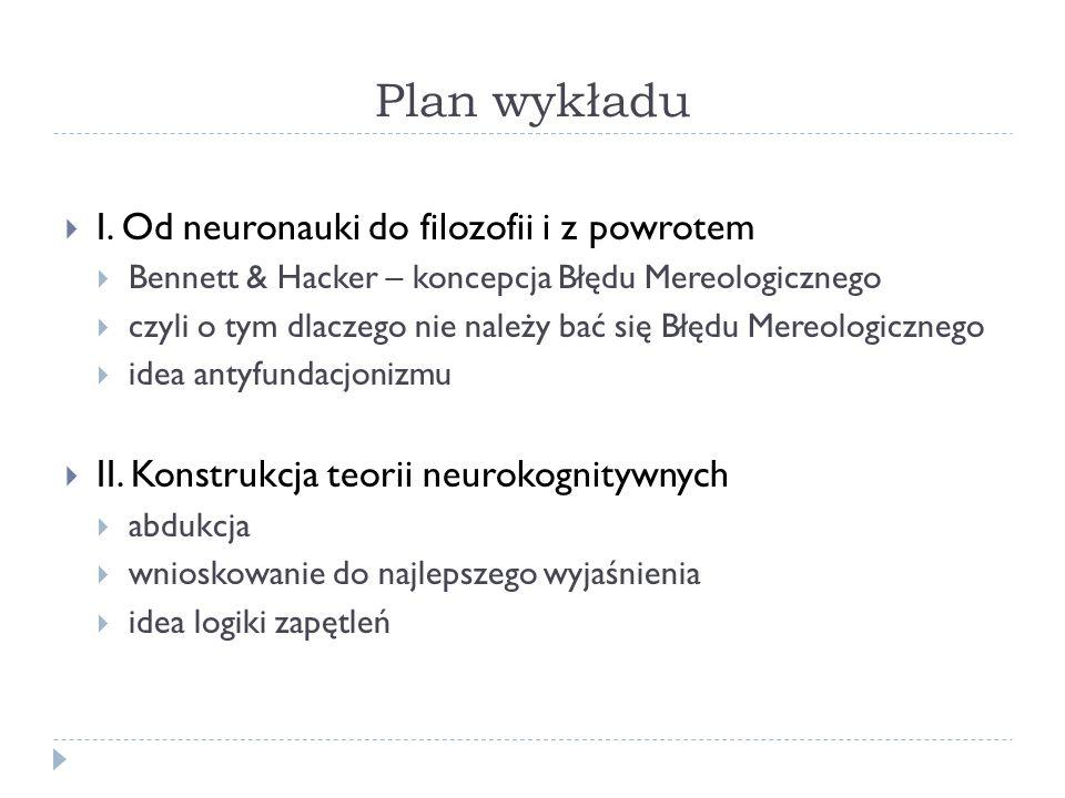 Plan wykładu I. Od neuronauki do filozofii i z powrotem Bennett & Hacker – koncepcja Błędu Mereologicznego czyli o tym dlaczego nie należy bać się Błę