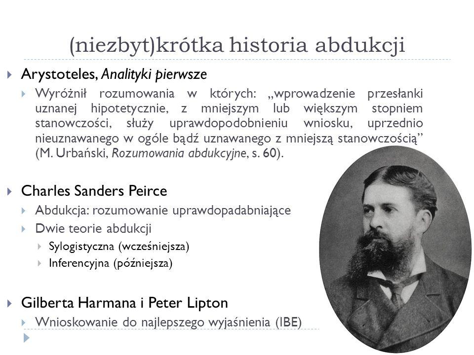 (niezbyt)krótka historia abdukcji Arystoteles, Analityki pierwsze Wyróżnił rozumowania w których: wprowadzenie przesłanki uznanej hipotetycznie, z mni