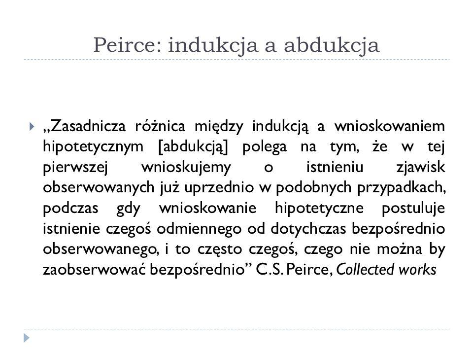 Peirce: indukcja a abdukcja Zasadnicza różnica między indukcją a wnioskowaniem hipotetycznym [abdukcją] polega na tym, że w tej pierwszej wnioskujemy