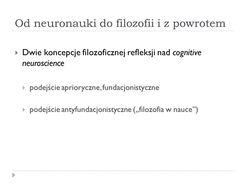 Od neuronauki do filozofii i z powrotem Dwie koncepcje filozoficznej refleksji nad cognitive neuroscience podejście aprioryczne, fundacjonistyczne pod
