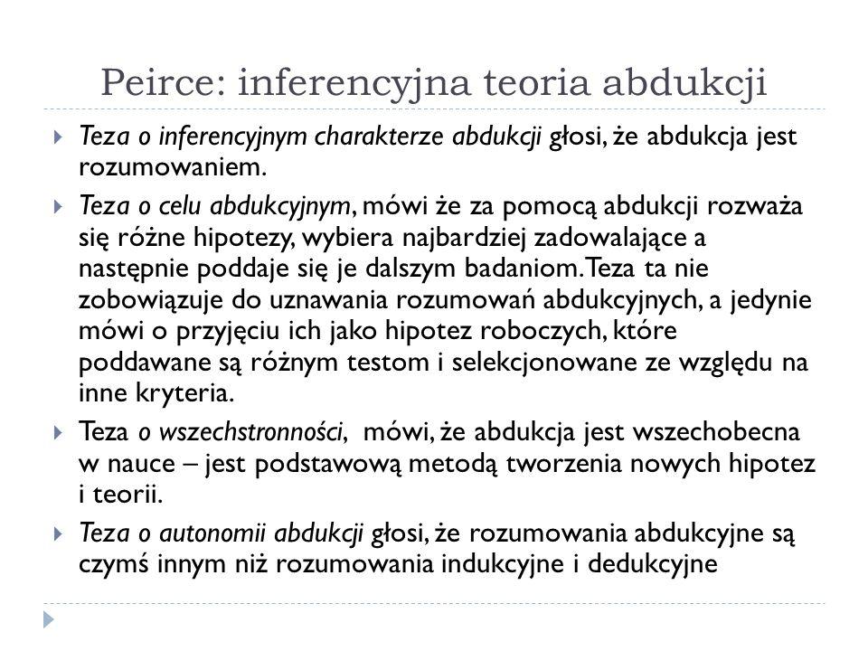 Peirce: inferencyjna teoria abdukcji Teza o inferencyjnym charakterze abdukcji głosi, że abdukcja jest rozumowaniem. Teza o celu abdukcyjnym, mówi że