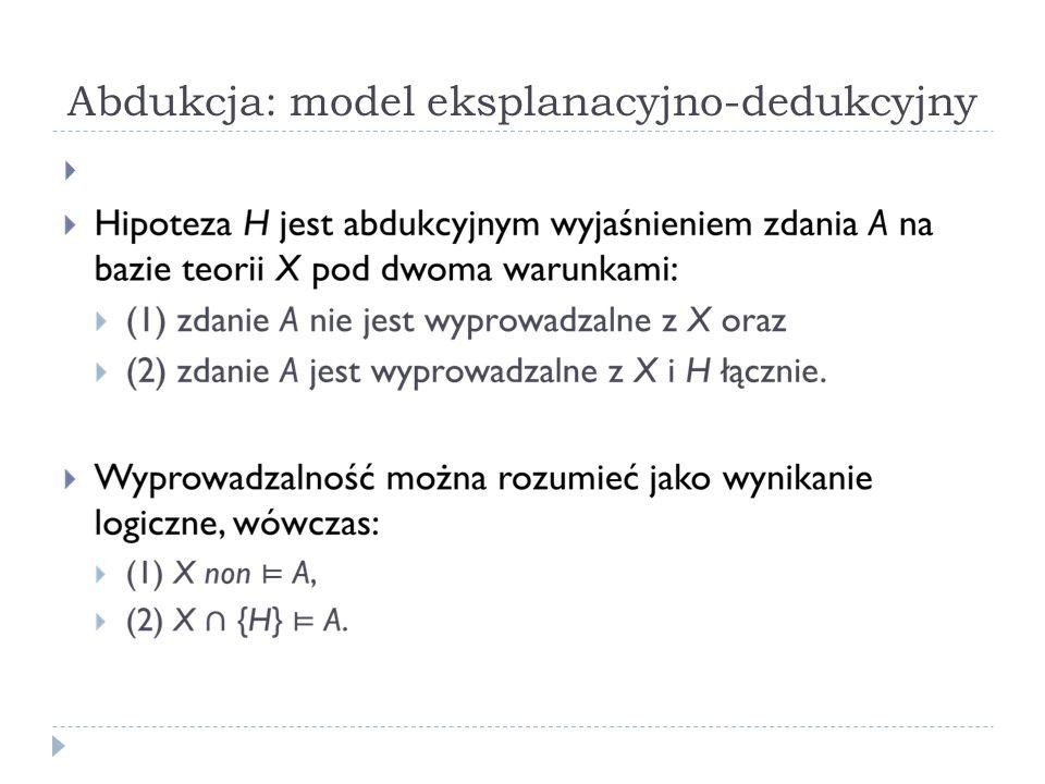 Abdukcja: model eksplanacyjno-dedukcyjny