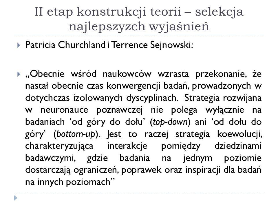 II etap konstrukcji teorii – selekcja najlepszyzch wyjaśnień Patricia Churchland i Terrence Sejnowski: Obecnie wśród naukowców wzrasta przekonanie, że