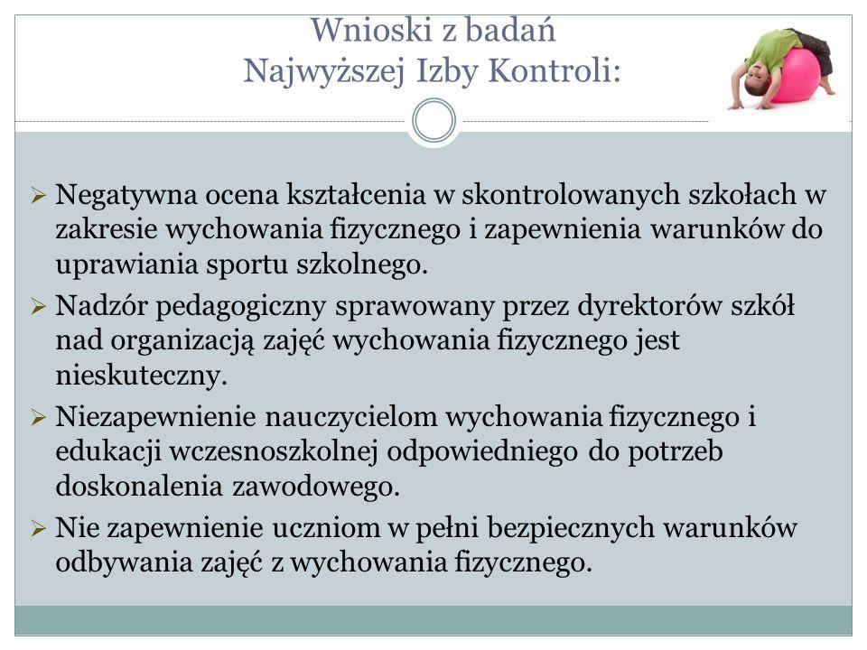 Wnioski z badań Najwyższej Izby Kontroli: Negatywna ocena kształcenia w skontrolowanych szkołach w zakresie wychowania fizycznego i zapewnienia warunk