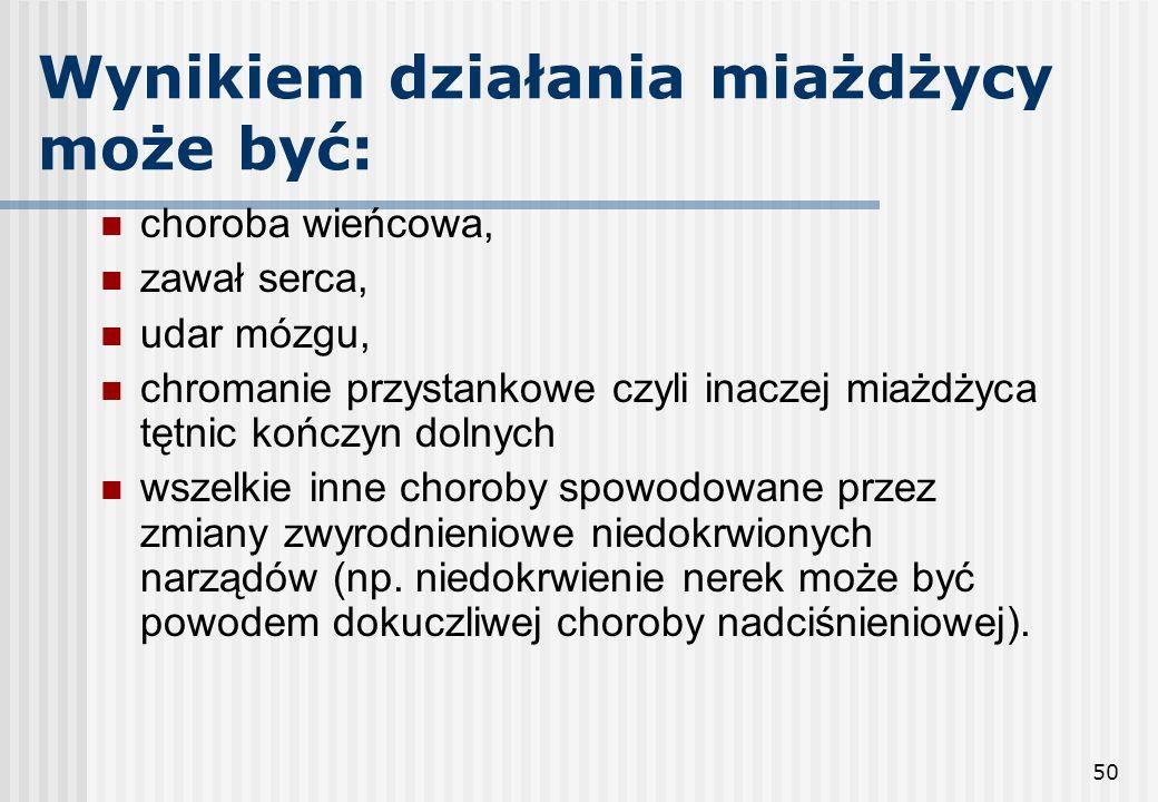 50 Wynikiem działania miażdżycy może być: choroba wieńcowa, zawał serca, udar mózgu, chromanie przystankowe czyli inaczej miażdżyca tętnic kończyn dol