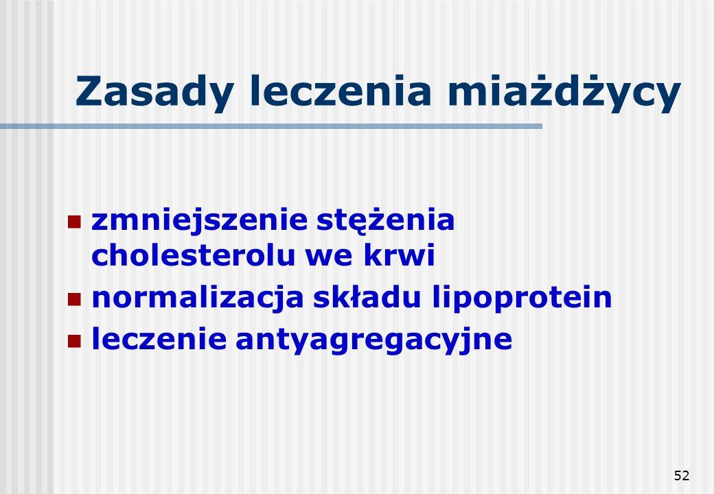 52 Zasady leczenia miażdżycy zmniejszenie stężenia cholesterolu we krwi normalizacja składu lipoprotein leczenie antyagregacyjne