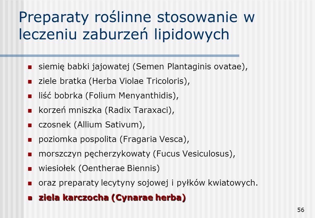 56 Preparaty roślinne stosowanie w leczeniu zaburzeń lipidowych siemię babki jajowatej (Semen Plantaginis ovatae), ziele bratka (Herba Violae Tricolor