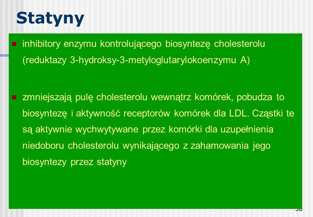 58 Statyny inhibitory enzymu kontrolującego biosyntezę cholesterolu (reduktazy 3-hydroksy-3-metyloglutarylokoenzymu A) zmniejszają pulę cholesterolu w
