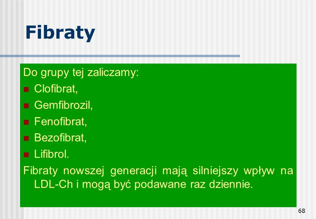 68 Fibraty Do grupy tej zaliczamy: Clofibrat, Gemfibrozil, Fenofibrat, Bezofibrat, Lifibrol. Fibraty nowszej generacji mają silniejszy wpływ na LDL-Ch