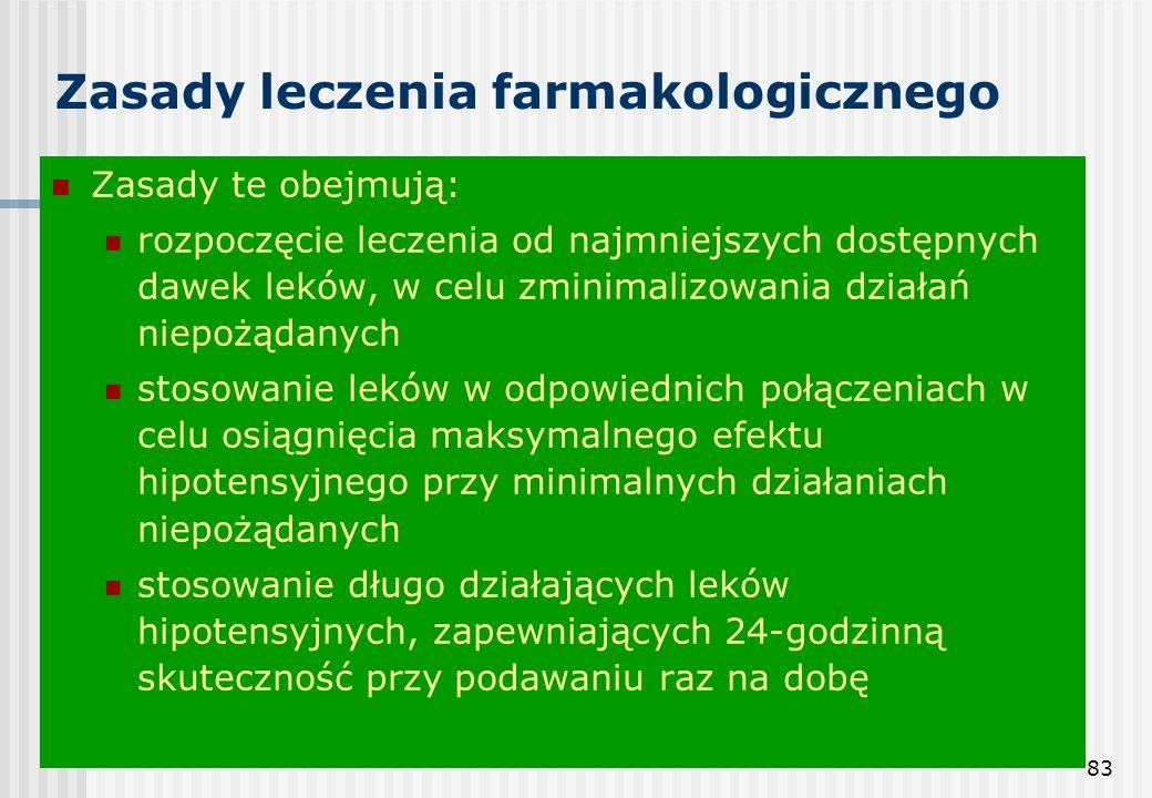 83 Zasady leczenia farmakologicznego Zasady te obejmują: rozpoczęcie leczenia od najmniejszych dostępnych dawek leków, w celu zminimalizowania działań