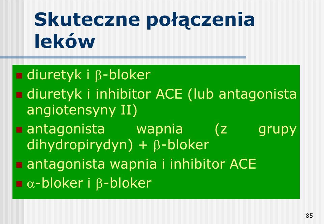 85 Skuteczne połączenia leków diuretyk i -bloker diuretyk i inhibitor ACE (lub antagonista angiotensyny II) antagonista wapnia (z grupy dihydropirydyn