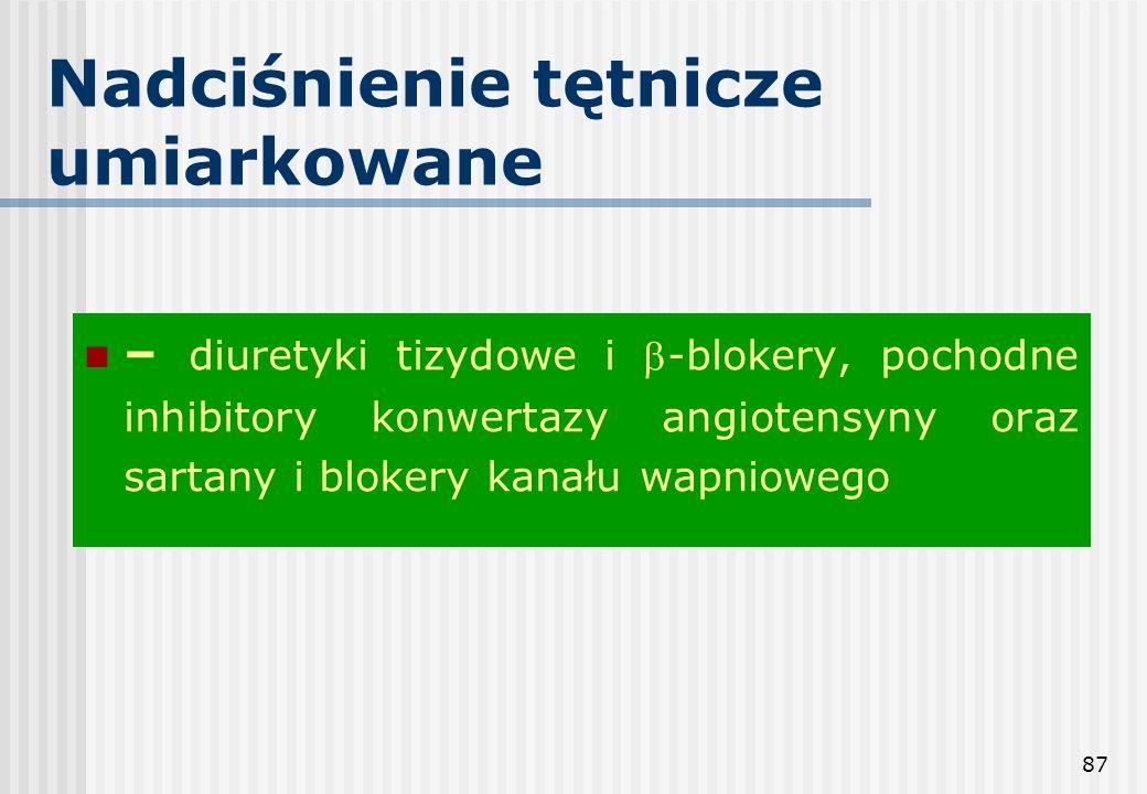 87 Nadciśnienie tętnicze umiarkowane – diuretyki tizydowe i -blokery, pochodne inhibitory konwertazy angiotensyny oraz sartany i blokery kanału wapnio