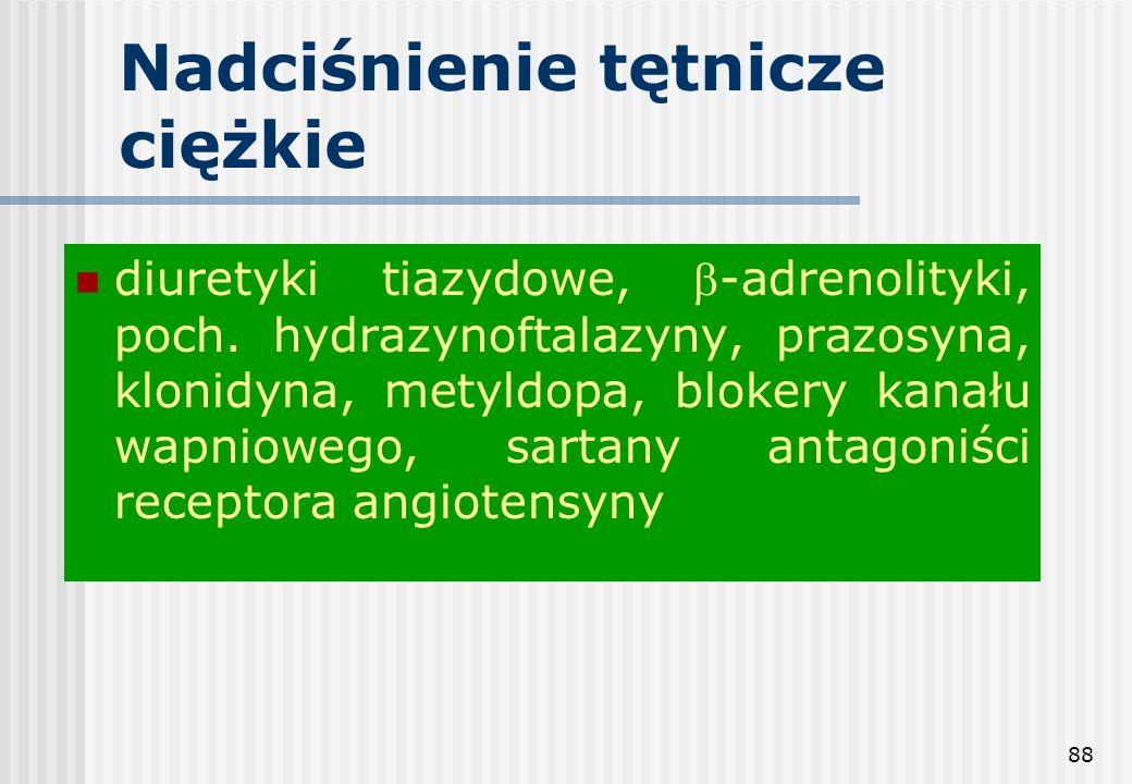 88 Nadciśnienie tętnicze ciężkie diuretyki tiazydowe, -adrenolityki, poch. hydrazynoftalazyny, prazosyna, klonidyna, metyldopa, blokery kanału wapniow
