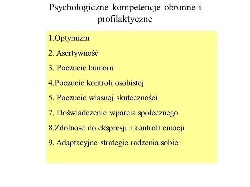 Psychologiczne kompetencje obronne i profilaktyczne 1.Optymizm 2. Asertywność 3. Poczucie humoru 4.Poczucie kontroli osobistej 5. Poczucie własnej sku