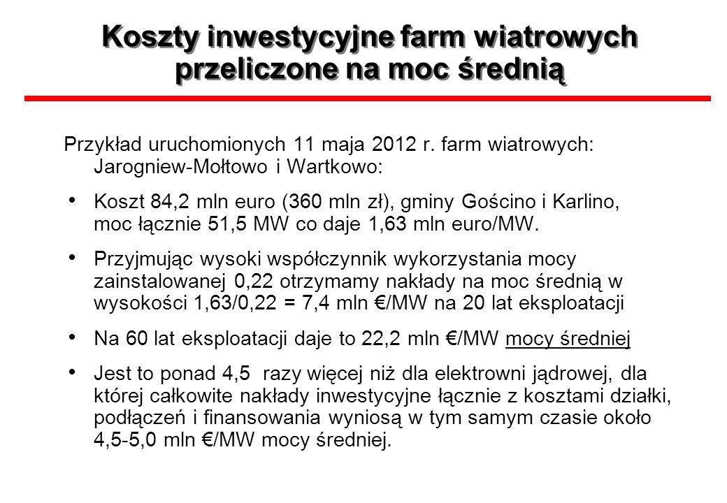 Koszty inwestycyjne farm wiatrowych przeliczone na moc średnią Przykład uruchomionych 11 maja 2012 r. farm wiatrowych: Jarogniew-Mołtowo i Wartkowo: K