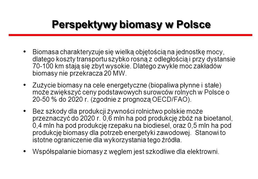 Perspektywy biomasy w Polsce Biomasa charakteryzuje się wielką objętością na jednostkę mocy, dlatego koszty transportu szybko rosną z odległością i pr