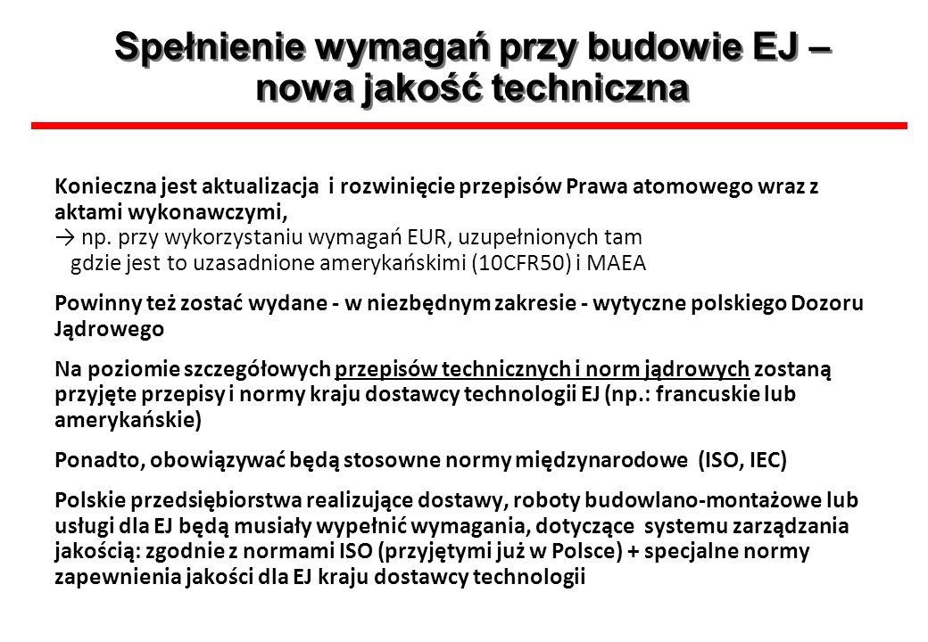 Spełnienie wymagań przy budowie EJ – nowa jakość techniczna Konieczna jest aktualizacja i rozwinięcie przepisów Prawa atomowego wraz z aktami wykonawc