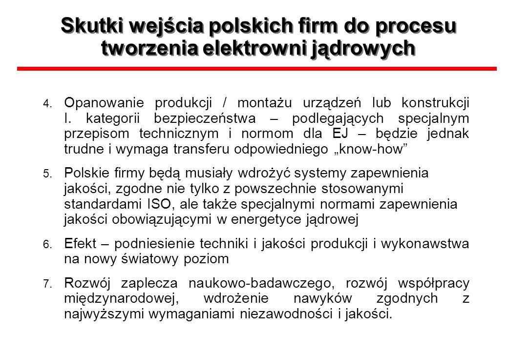 Skutki wejścia polskich firm do procesu tworzenia elektrowni jądrowych 4. Opanowanie produkcji / montażu urządzeń lub konstrukcji I. kategorii bezpiec