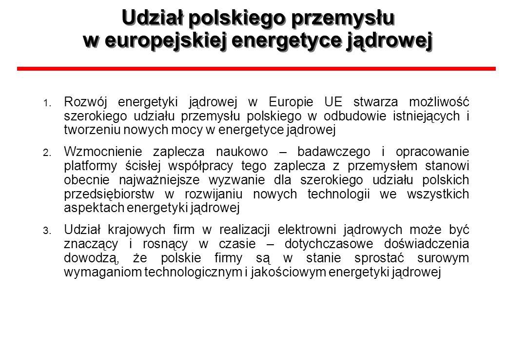 Udział polskiego przemysłu w europejskiej energetyce jądrowej 1. Rozwój energetyki jądrowej w Europie UE stwarza możliwość szerokiego udziału przemysł