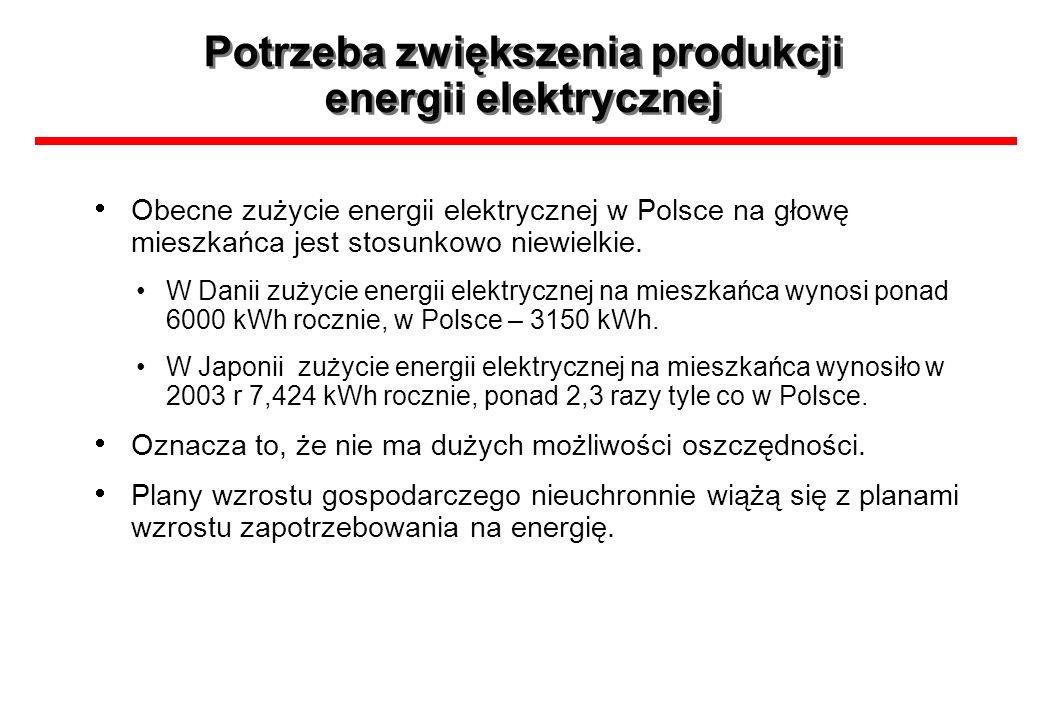 Potrzeba zwiększenia produkcji energii elektrycznej Obecne zużycie energii elektrycznej w Polsce na głowę mieszkańca jest stosunkowo niewielkie. W Dan