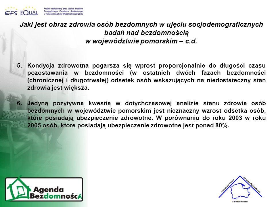 Jaki jest obraz zdrowia osób bezdomnych w ujęciu socjodemograficznych badań nad bezdomnością w województwie pomorskim – c.d. 5.Kondycja zdrowotna poga