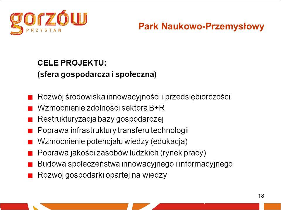 18 Park Naukowo-Przemysłowy CELE PROJEKTU: (sfera gospodarcza i społeczna) Rozwój środowiska innowacyjności i przedsiębiorczości Wzmocnienie zdolności sektora B+R Restrukturyzacja bazy gospodarczej Poprawa infrastruktury transferu technologii Wzmocnienie potencjału wiedzy (edukacja) Poprawa jakości zasobów ludzkich (rynek pracy) Budowa społeczeństwa innowacyjnego i informacyjnego Rozwój gospodarki opartej na wiedzy