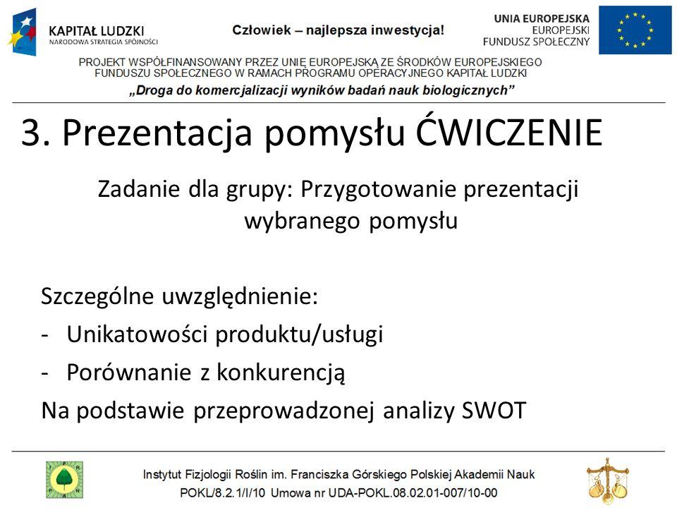 3. Prezentacja pomysłu ĆWICZENIE Zadanie dla grupy: Przygotowanie prezentacji wybranego pomysłu Szczególne uwzględnienie: -Unikatowości produktu/usług