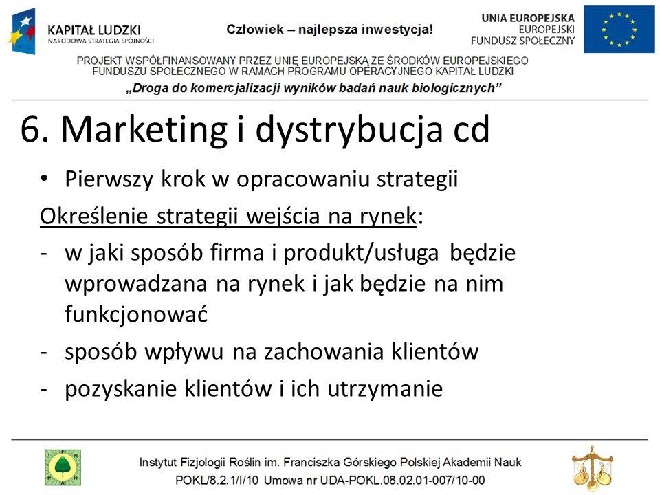 6. Marketing i dystrybucja cd Pierwszy krok w opracowaniu strategii Określenie strategii wejścia na rynek: -w jaki sposób firma i produkt/usługa będzi