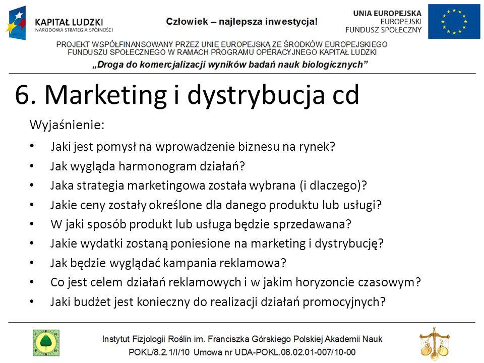 6. Marketing i dystrybucja cd Wyjaśnienie: Jaki jest pomysł na wprowadzenie biznesu na rynek? Jak wygląda harmonogram działań? Jaka strategia marketin