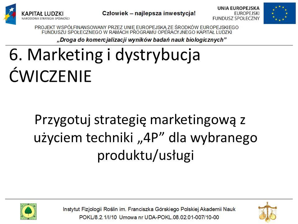 6. Marketing i dystrybucja ĆWICZENIE Przygotuj strategię marketingową z użyciem techniki 4P dla wybranego produktu/usługi