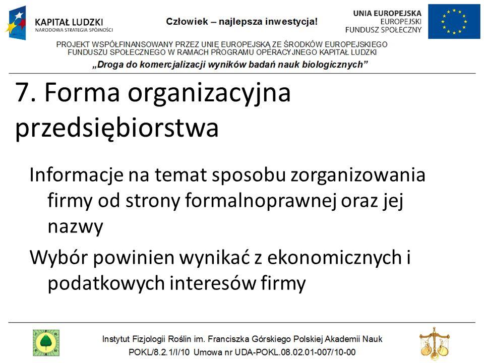 7. Forma organizacyjna przedsiębiorstwa Informacje na temat sposobu zorganizowania firmy od strony formalnoprawnej oraz jej nazwy Wybór powinien wynik