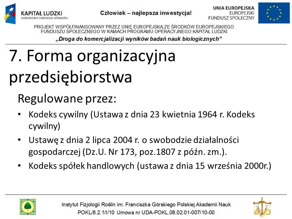 7. Forma organizacyjna przedsiębiorstwa Regulowane przez: Kodeks cywilny (Ustawa z dnia 23 kwietnia 1964 r. Kodeks cywilny) Ustawę z dnia 2 lipca 2004