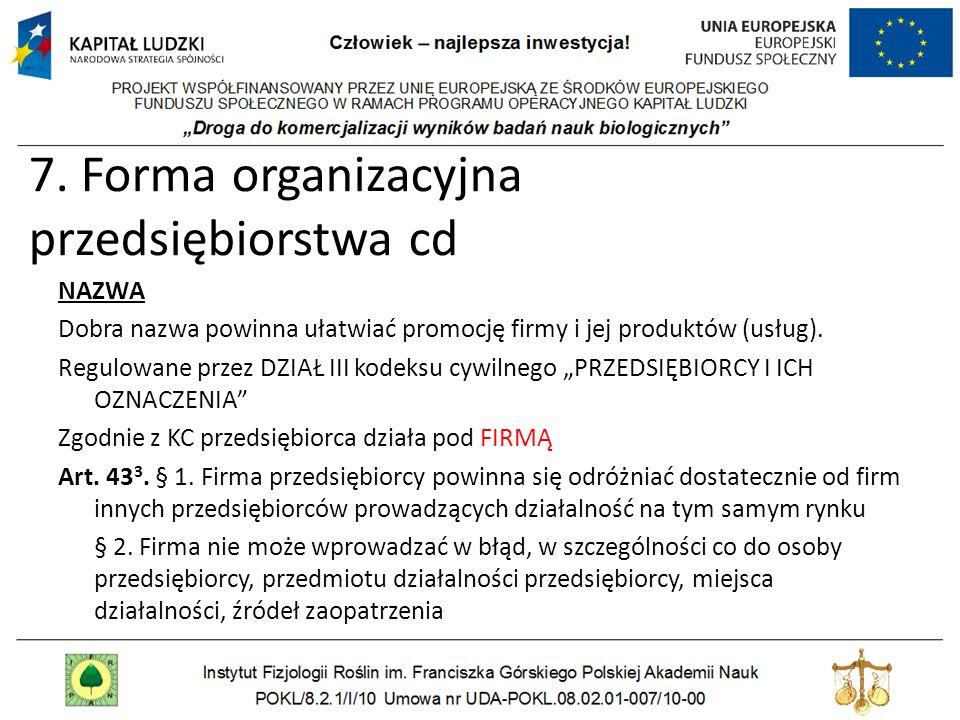 7. Forma organizacyjna przedsiębiorstwa cd NAZWA Dobra nazwa powinna ułatwiać promocję firmy i jej produktów (usług). Regulowane przez DZIAŁ III kodek