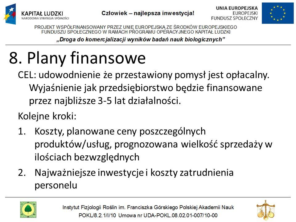 8. Plany finansowe CEL: udowodnienie że przestawiony pomysł jest opłacalny. Wyjaśnienie jak przedsiębiorstwo będzie finansowane przez najbliższe 3-5 l