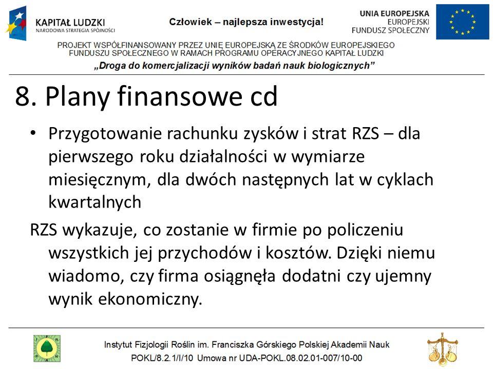 8. Plany finansowe cd Przygotowanie rachunku zysków i strat RZS – dla pierwszego roku działalności w wymiarze miesięcznym, dla dwóch następnych lat w