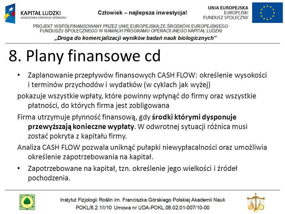 8. Plany finansowe cd Zaplanowanie przepływów finansowych CASH FLOW: określenie wysokości i terminów przychodów i wydatków (w cyklach jak wyżej) pokaz