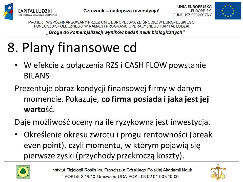 8. Plany finansowe cd W efekcie z połączenia RZS i CASH FLOW powstanie BILANS Prezentuje obraz kondycji finansowej firmy w danym momencie. Pokazuje, c