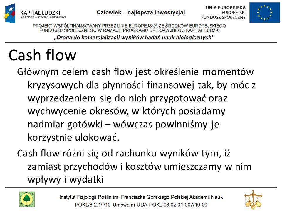 Cash flow Głównym celem cash flow jest określenie momentów kryzysowych dla płynności finansowej tak, by móc z wyprzedzeniem się do nich przygotować or