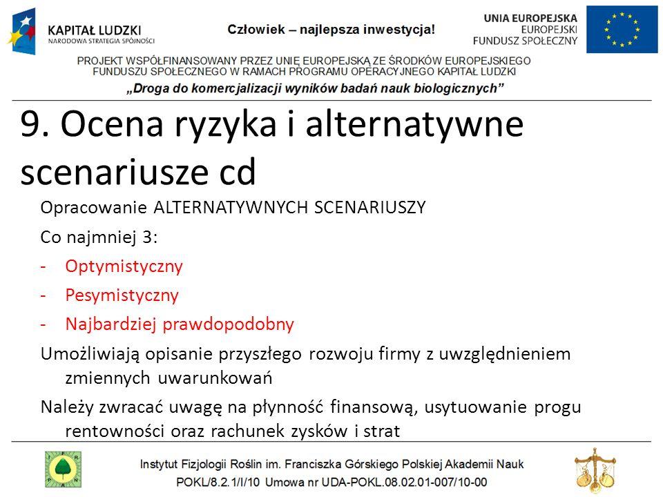 9. Ocena ryzyka i alternatywne scenariusze cd Opracowanie ALTERNATYWNYCH SCENARIUSZY Co najmniej 3: -Optymistyczny -Pesymistyczny -Najbardziej prawdop