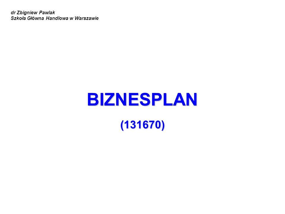 BIZNESPLAN (131670) dr Zbigniew Pawlak Szkoła Główna Handlowa w Warszawie