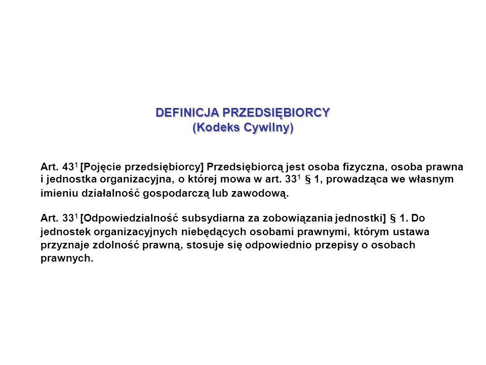 DEFINICJA PRZEDSIĘBIORCY (Kodeks Cywilny) Art.