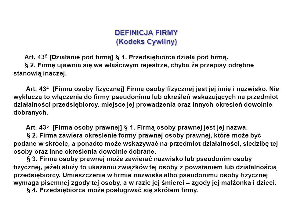 DEFINICJA FIRMY (Kodeks Cywilny) Art. 43 2 [Działanie pod firmą] § 1.