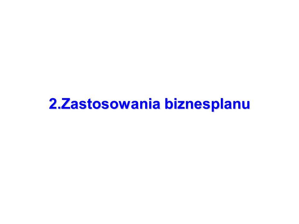 2.Zastosowania biznesplanu