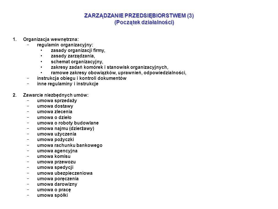 ZARZĄDZANIE PRZEDSIĘBIORSTWEM (3) (Początek działalności) 1.Organizacja wewnętrzna: regulamin organizacyjny: zasady organizacji firmy, zasady zarządzania, schemat organizacyjny, zakresy zadań komórek i stanowisk organizacyjnych, ramowe zakresy obowiązków, uprawnień, odpowiedzialności, instrukcja obiegu i kontroli dokumentów inne regulaminy i instrukcje 2.Zawarcie niezbędnych umów: umowa sprzedaży umowa dostawy umowa zlecenia umowa o dzieło umowa o roboty budowlane umowa najmu (dzierżawy) umowa użyczenia umowa pożyczki umowa rachunku bankowego umowa agencyjna umowa komisu umowa przewozu umowa spedycji umowa ubezpieczeniowa umowa poręczenia umowa darowizny umowa o pracę umowa spółki